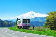 Spring color of Yuri plateau railway and Mt.Chokai Stock photo [3126162] Mt.Chokai