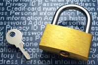 Padlock and character background. Security, protection of personal information. Stock photo [3128808] Security