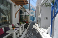 Restaurant district of Mykonos Town Stock photo [3332220] Mykonos