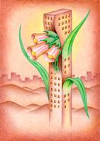 花と融合したビル