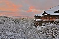 Kiyomizu Temple snow sunrise Stock photo [3523600] Kyoto
