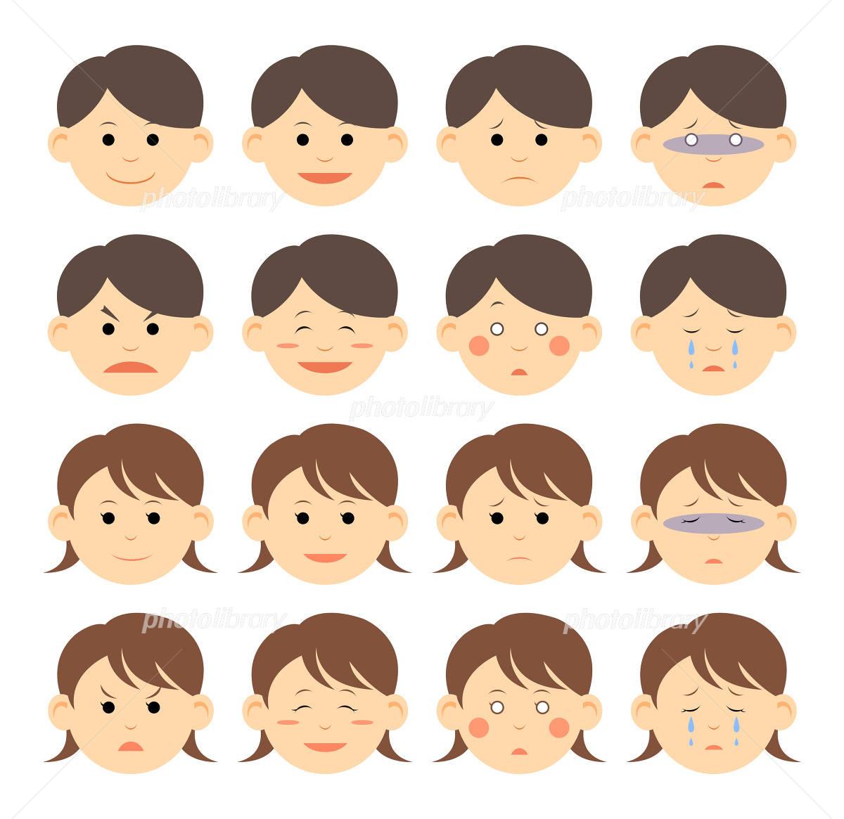 男女別の表情集 イラスト素材 3628560 フォトライブラリー