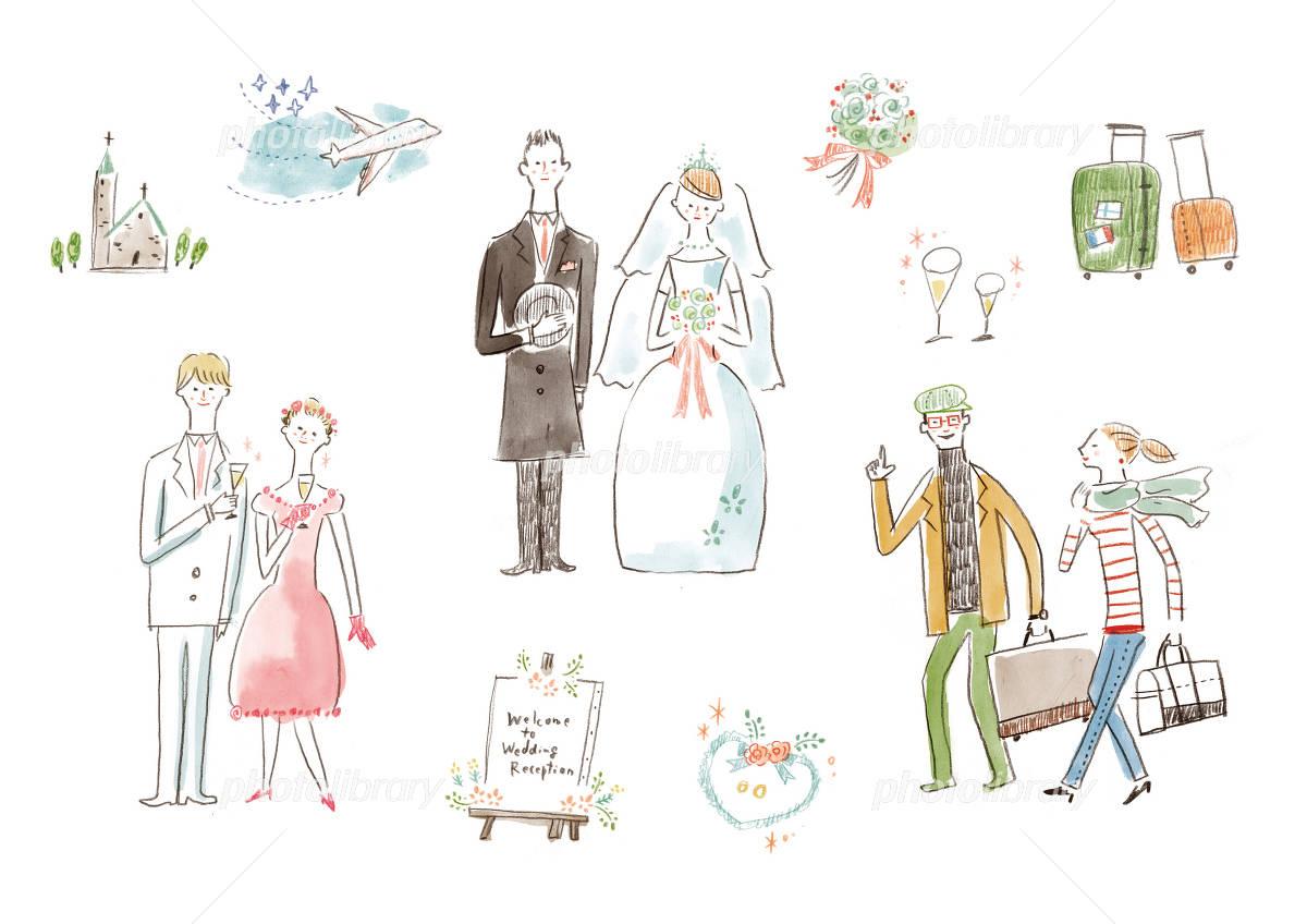 新郎新婦と小物たち 手描き イラスト素材 3732588 フォトライブ