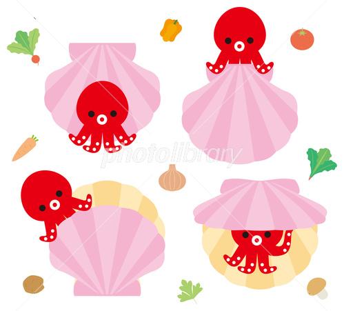 タコとホタテ貝のキャラクター イラスト素材 3734792 フォトライブ