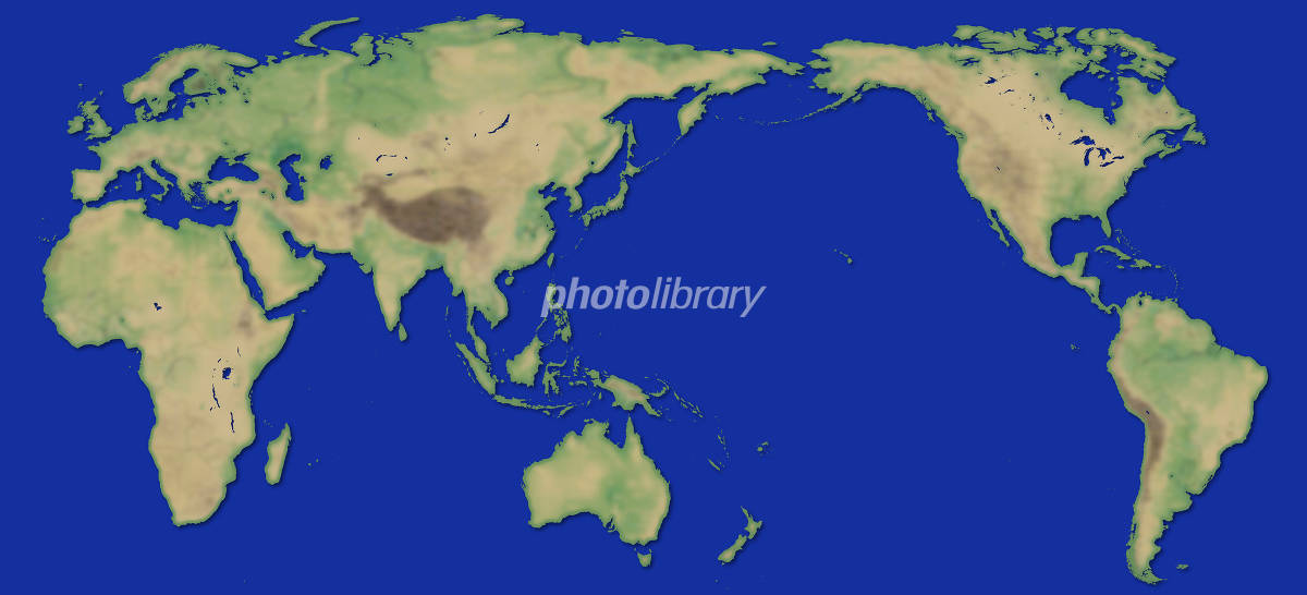 World Map (colored and blue background) イラスト素材