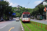 Streetcar and Kumamoto Castle Stock photo [3948224] Kumamoto