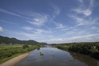Akita Prefecture Daisen Omono River and blue sky Stock photo [3952795] Omono