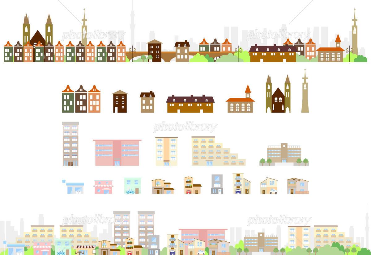 ヨーロッパと日本の街並み イラスト素材 4114839 フォトライブ