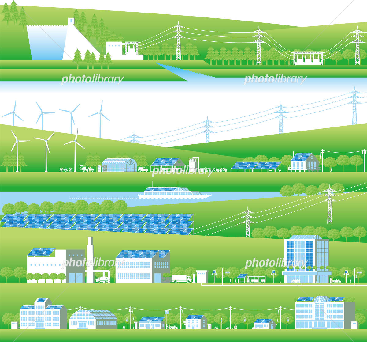 Renewable energy and power grid イラスト素材