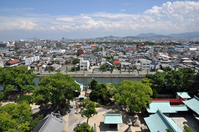 Tower and Imabari city as seen from the Imabari Castle Stock photo [4111976] Imabari