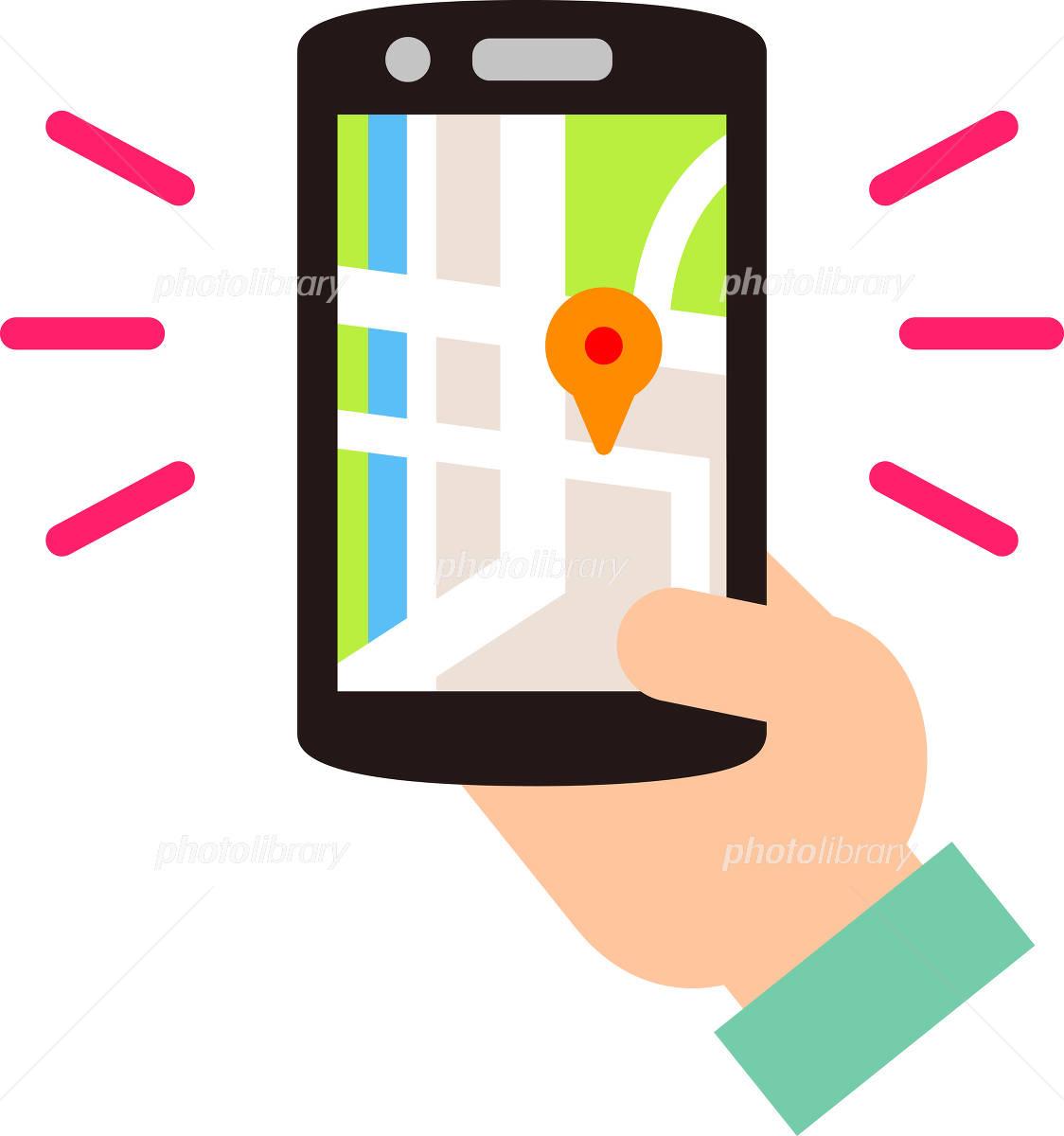 スマートフォンの地図アプリ イラスト素材 4883054 フォトライブ