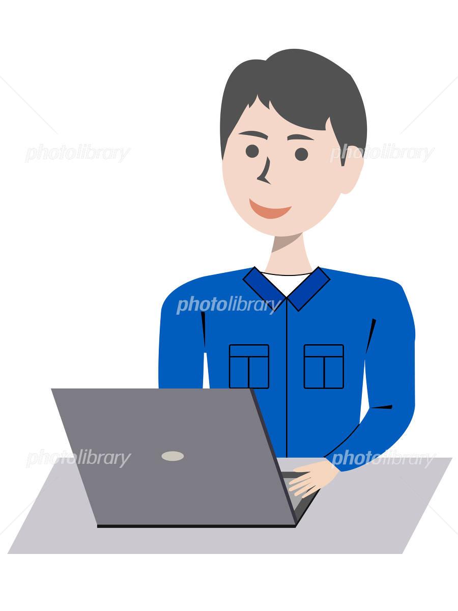 パソコンを打っている男性 イラスト素材 4886162 無料 フォト