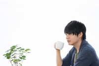 Men who drink a hot drink in a cafe Stock photo [4890401] Cafe