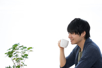 Men who drink a hot drink in a cafe Stock photo [4890403] Cafe