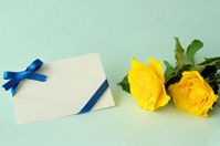 Yellow roses and message cards Stock photo [5080345] Yellow