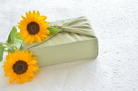 Gifts image Furoshiki wrapping sunflower Stock photo [5085993] Gift,
