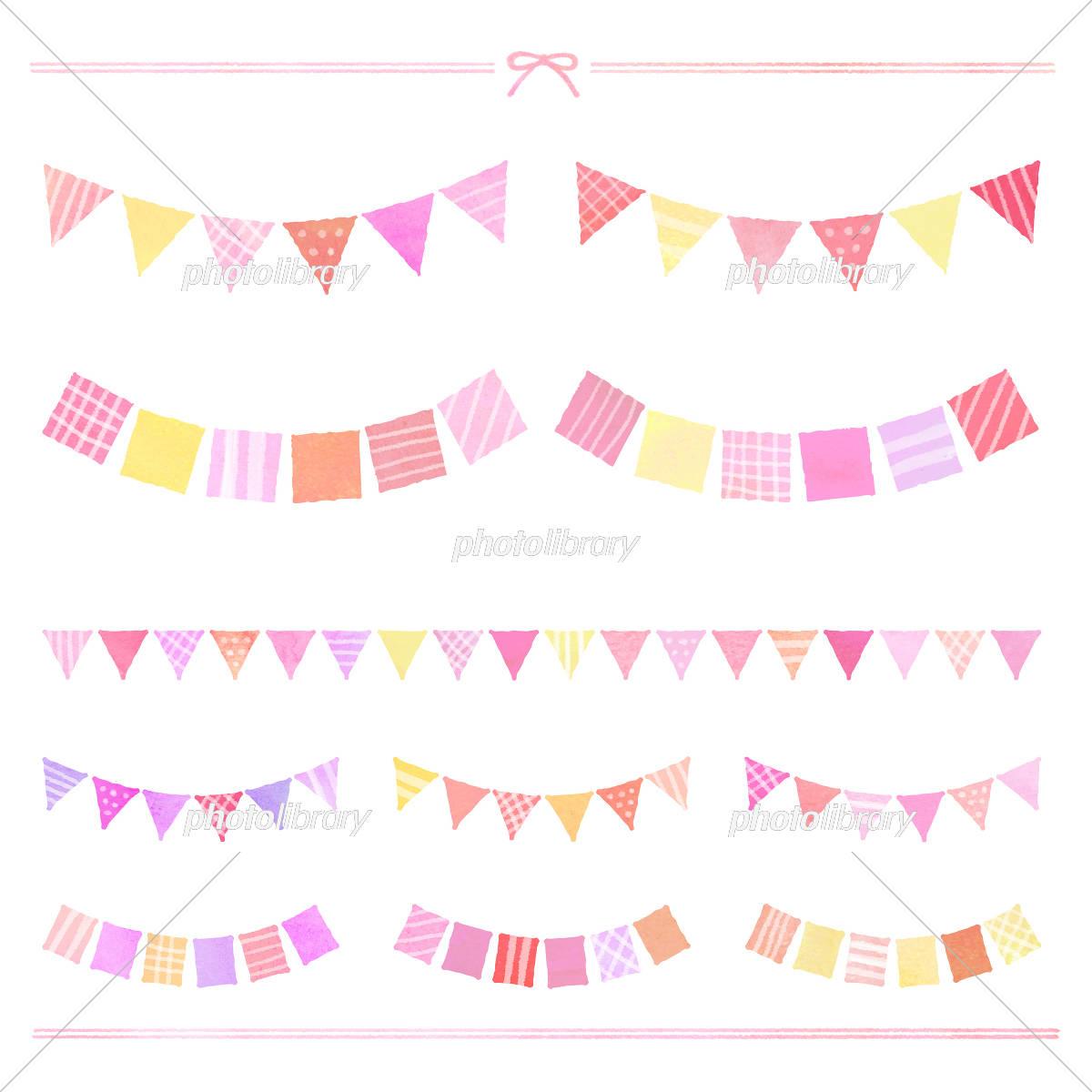 ガーランド 水彩風 ピンク イラスト素材 5180901 フォトライブ