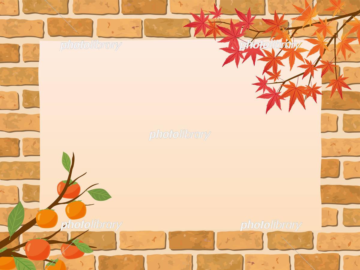 レンガ背景 秋のフレーム素材 イラスト素材 [ 5181320 ] - フォト