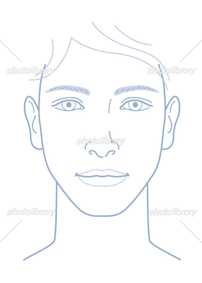 男性 顔 正面 イラスト イラスト素材 [ 5275364 ] - フォトライブラリー
