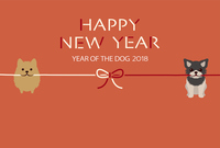 Dog's New Year's card template for 2018 year old year [5272303] New