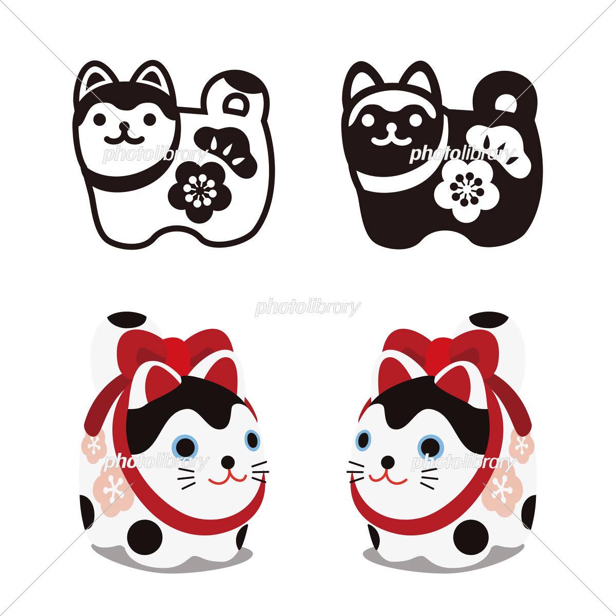 狛犬のアイコンイラスト カラーと白黒 イラスト素材 [ 5356497