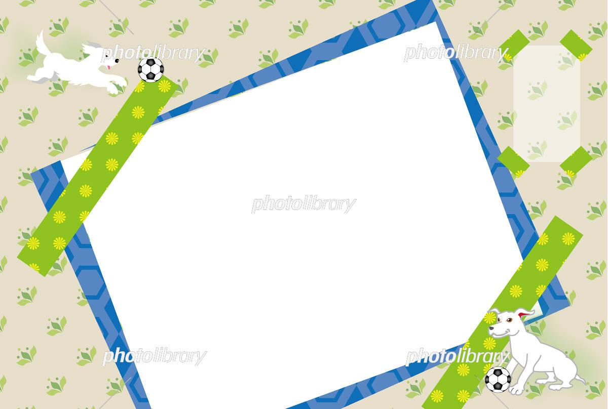 白い犬とサッカーボールのイラストの写真フレームはがきテンプレート