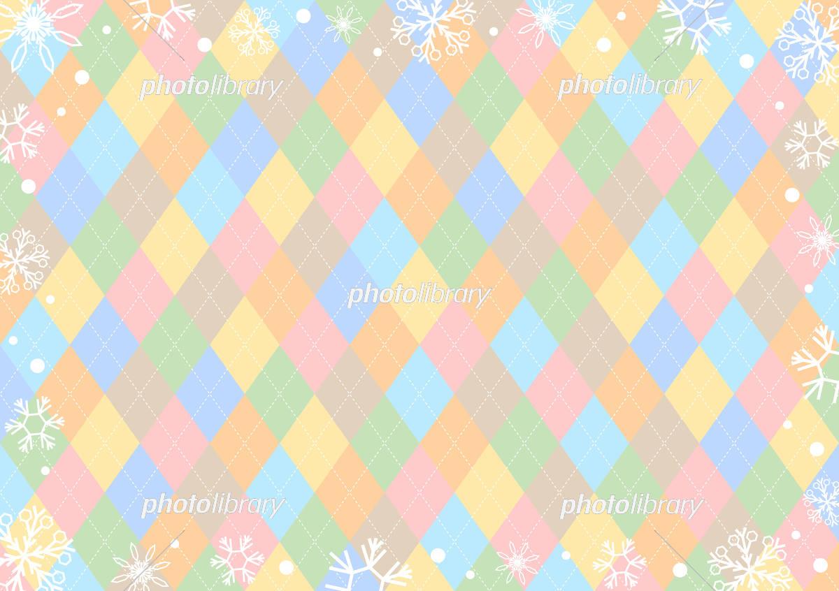 雪の結晶 カラフルアーガイル背景 イラスト素材 [ 5360456 ] - フォト