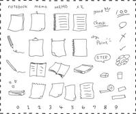イラスト Hand-drawn notes memo paper set(5362240)