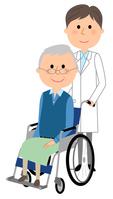 イラスト White coat male wheelchair patients(5362558)