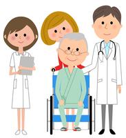 イラスト White coat male nurse wheelchair patient(5362595)