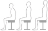 Good posture when sitting on a stool Bad posture ID:5362009