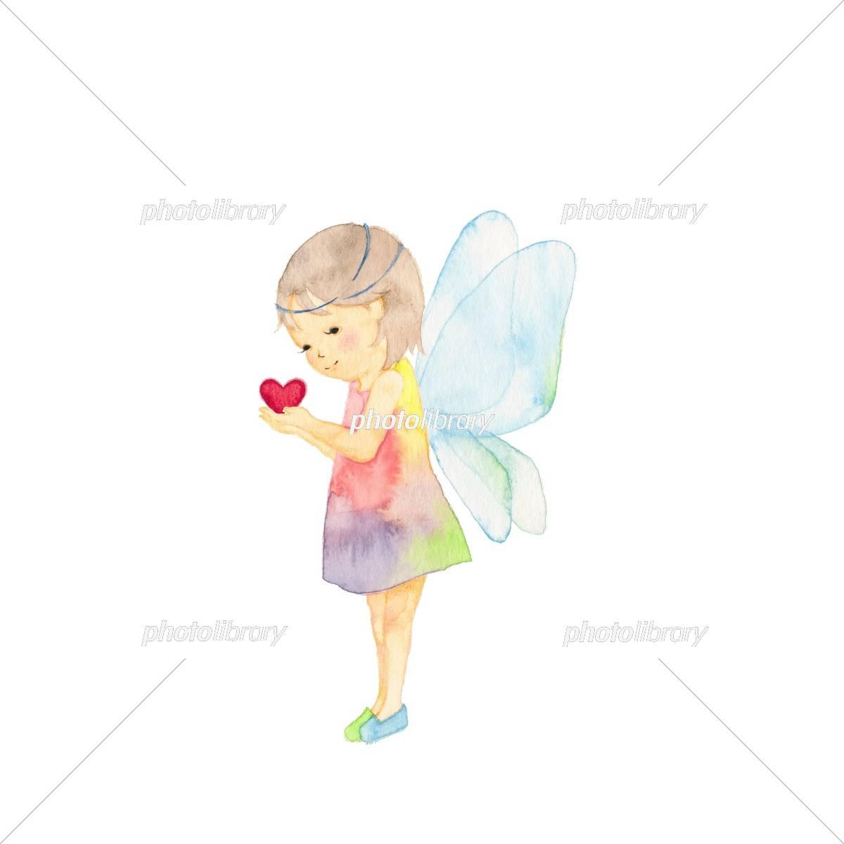 天使の羽根 小さな女の子 ハート イラスト素材 5416459 フォト