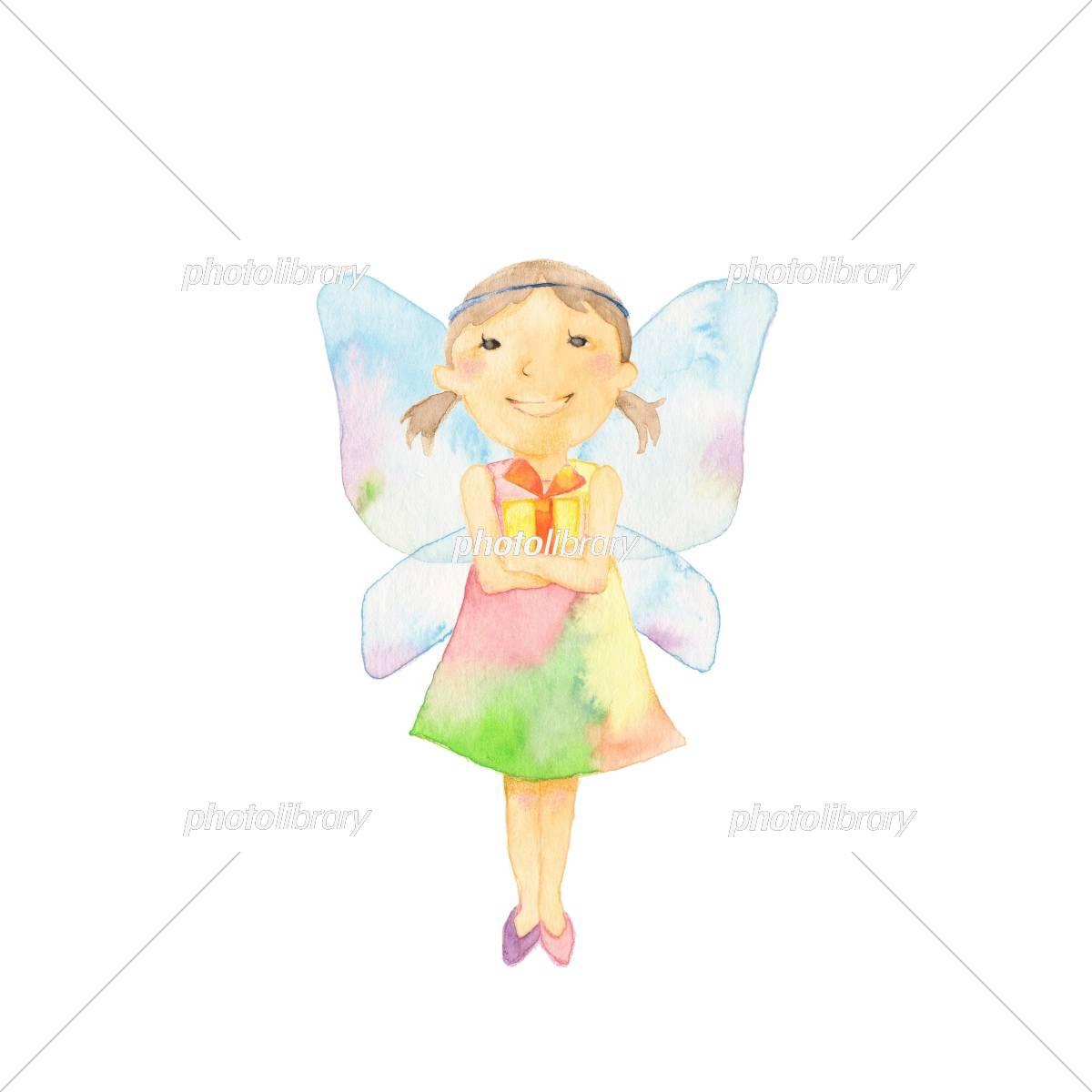 天使の羽根 女の子 プレゼント イラスト素材 5416462 フォトライブ