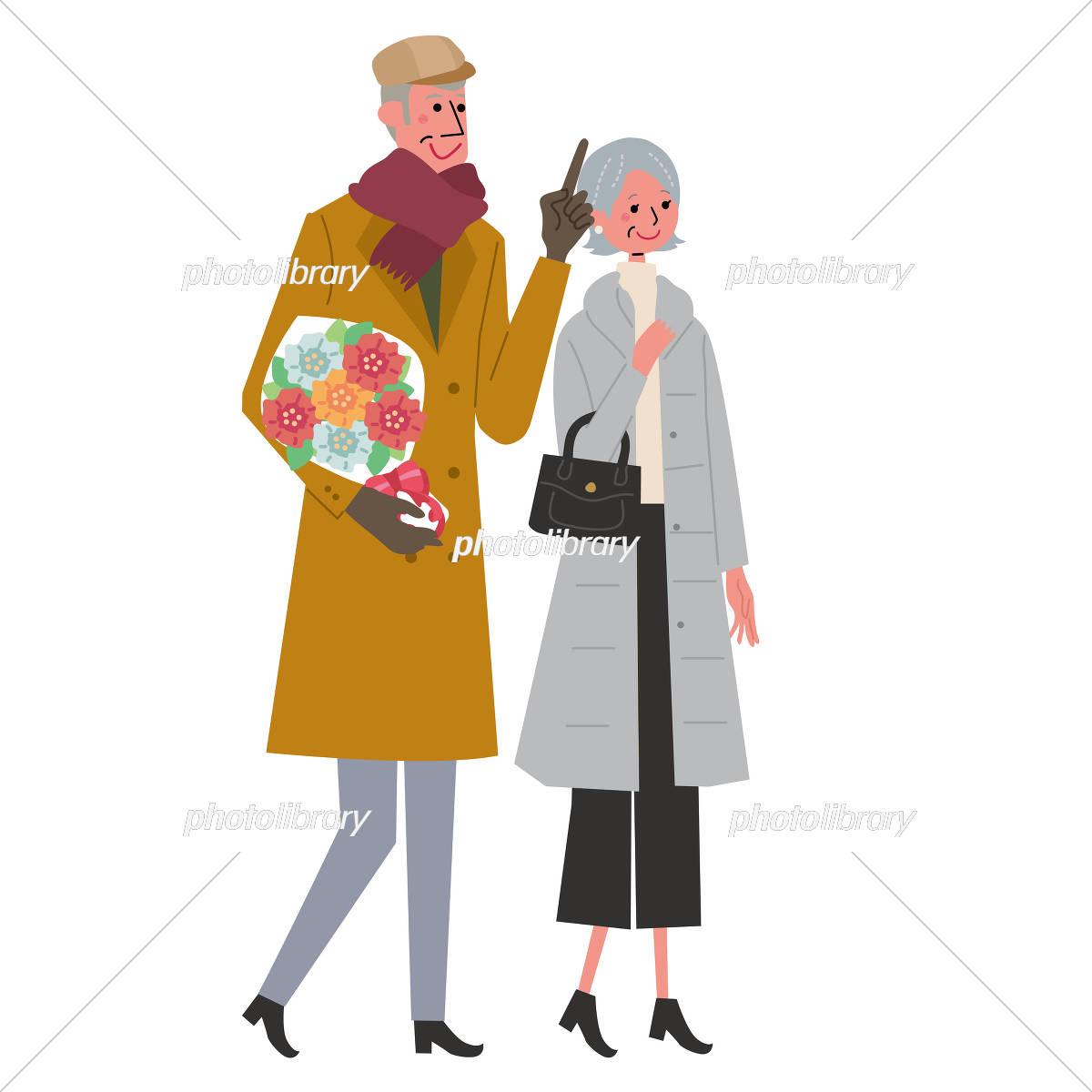 シニア イラスト 夫婦 冬 イラスト素材 [ 5420021 ] - フォトライブ