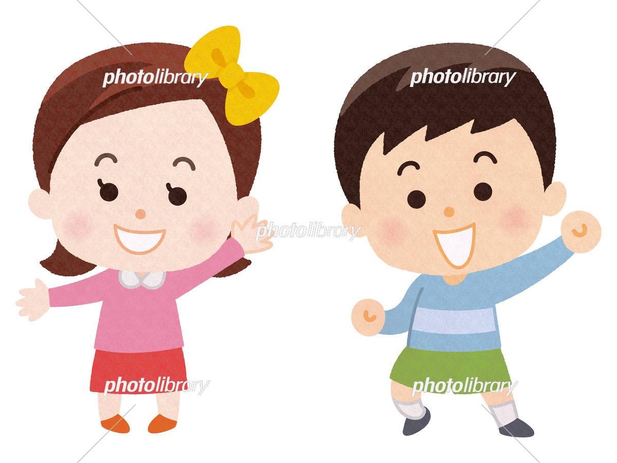 笑顔の男の子と女の子 イラスト素材 5458570 フォトライブラリー