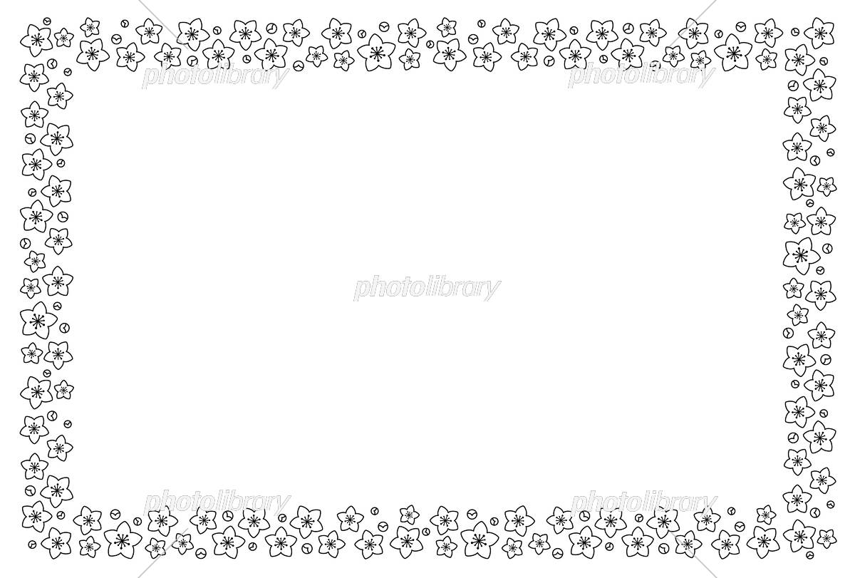 桃の花フレーム 白黒 イラスト素材 [ 5460162 ] - フォトライブラリー