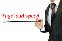Page load Speed ページスピードを強調 written by a young businessman ページスピード