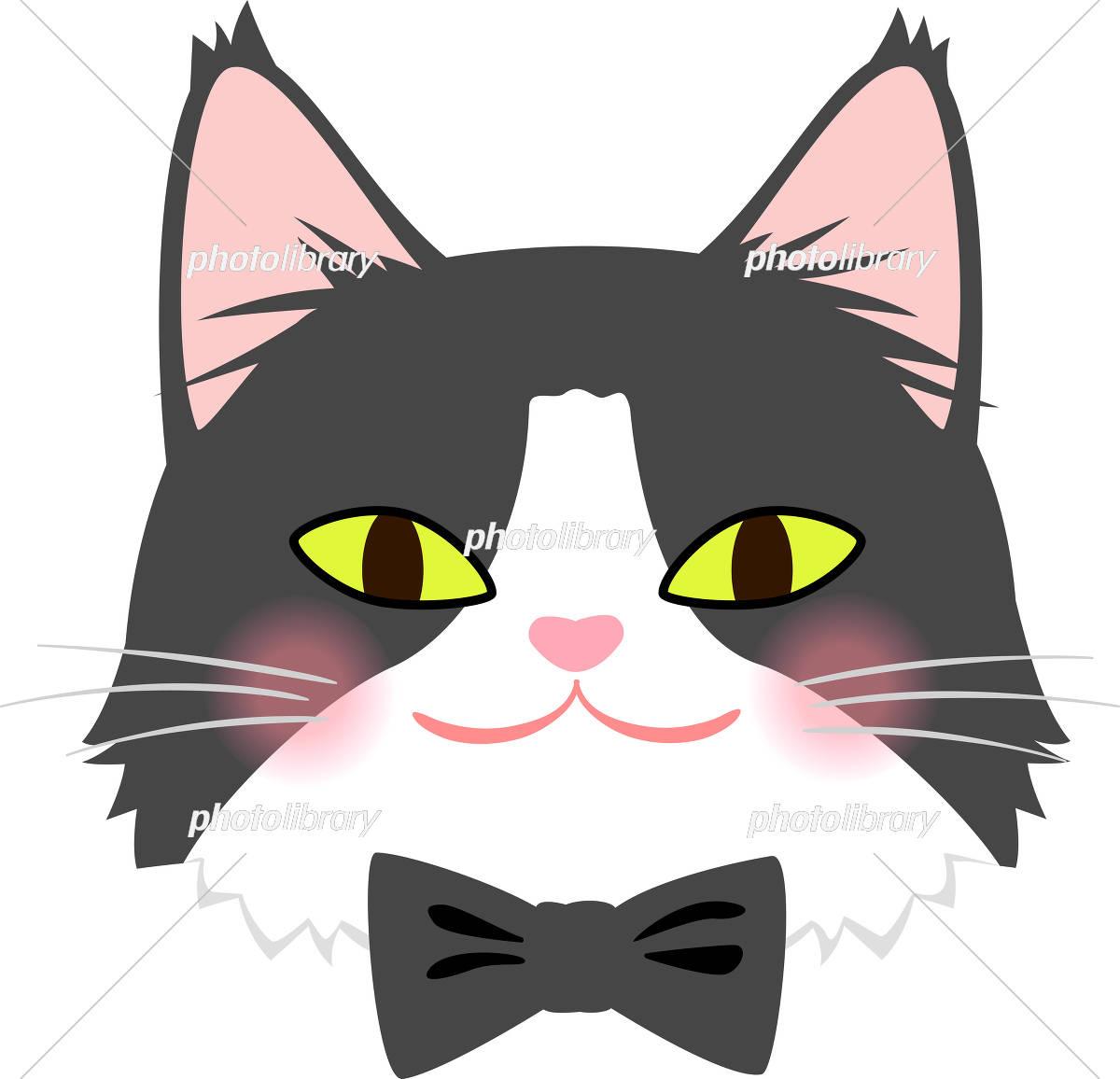 蝶ネクタイをした猫の顔 イラスト素材 [ 5525231 ] - フォトライブラリー