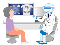 Patient receiving treatment from an artificial intelligent robot physician A
