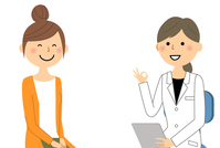 Women's medical examination OK in white coat OK An