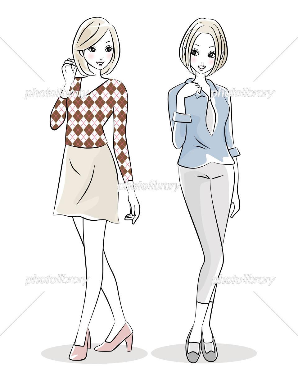 ファッション 女性 2人 イラスト素材 [ 5697748 ] , フォト