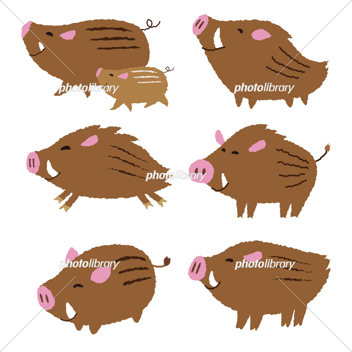 猪のイラスト 亥年 年賀状素材 干支動物 イラスト素材 [ 5699678
