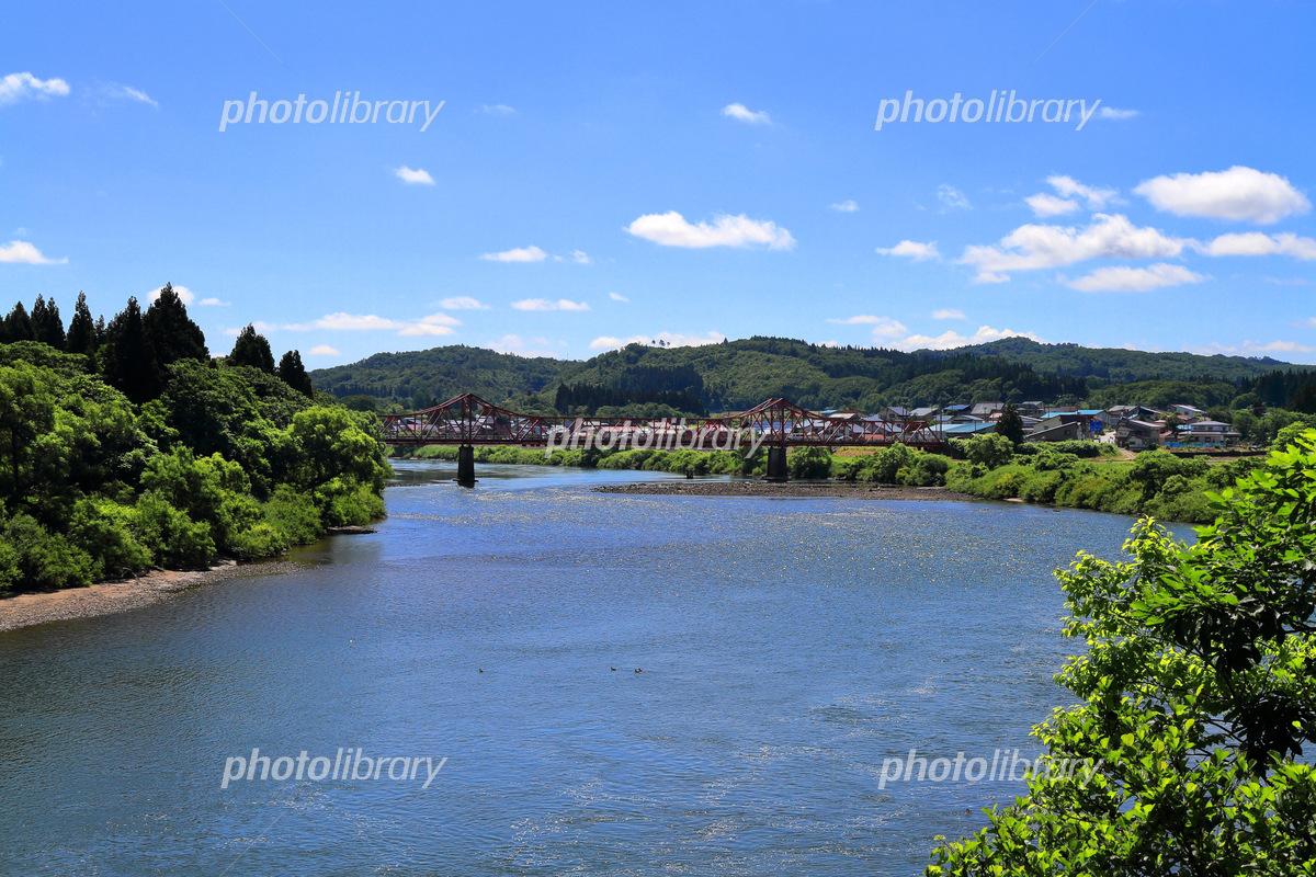 最上川に掛かる堀内橋 写真素材 [ 6423822 ] - フォトライブラリー ...