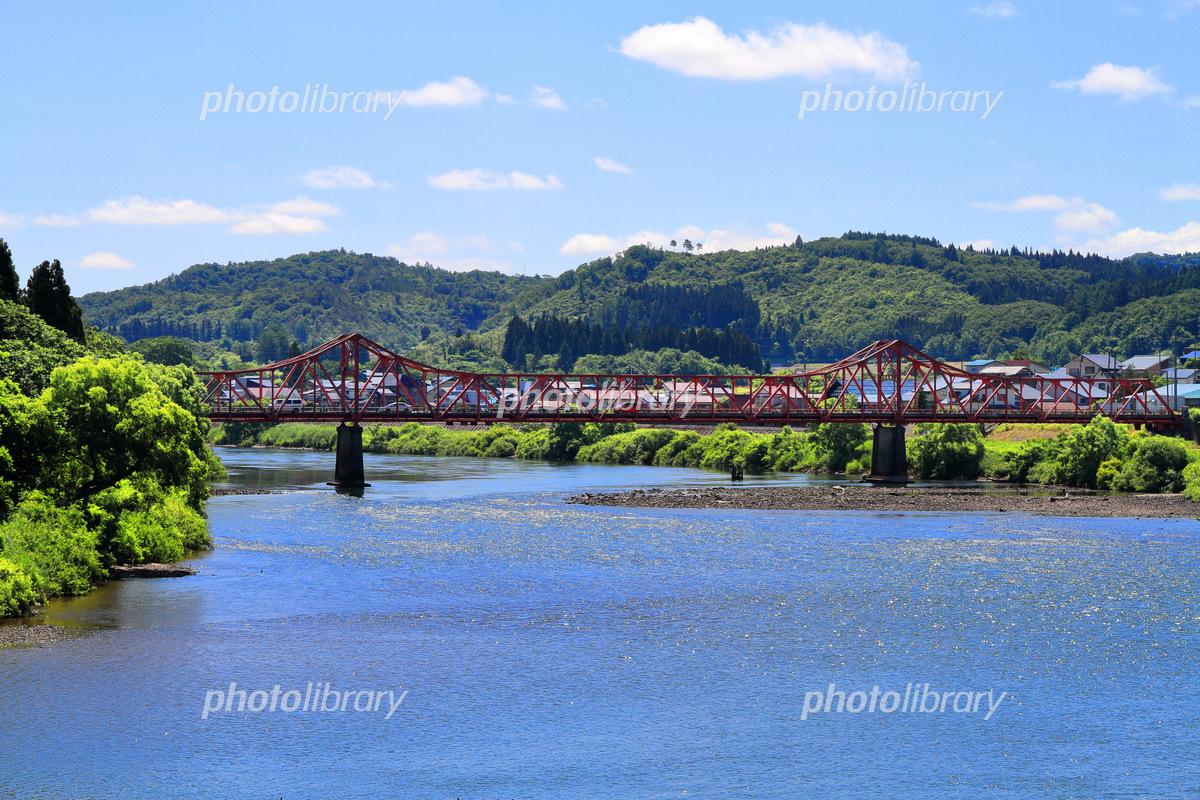 最上川に掛かる堀内橋 写真素材 [ 6423823 ] - フォトライブラリー ...