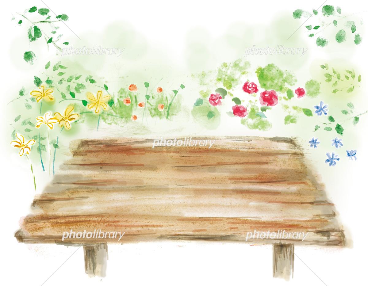 自然の緑や花の中に木目のテーブルが置いてあるイラスト 手描きの背景素材 イラスト素材 フォトライブラリー Photolibrary