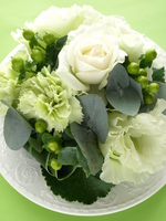 Flower Arrangement White Green Stock photo [305764] Table